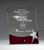 Glass Award with Silver Star and Rosewood Finish Base Clear Glass Awards